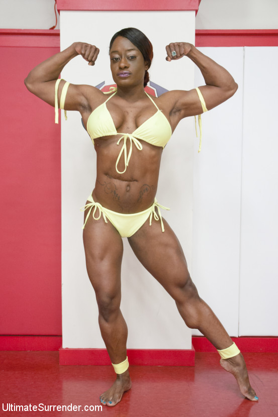 Mistress Kara vs Kelli Provocateur, champion wrestler vs rookie black bodybuilder